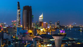 Top view of Ho Chi Minh City at night. Royalty Free Stock Photo