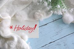 Top view of Holiday Note with White Scarf Royalty Free Stock Images