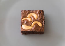 Top view of homemade chocolate brownie cake with cashew nut. On grey plate Royalty Free Stock Photos