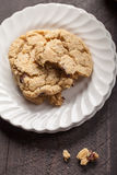 Top view of homemade chocolate chip oatmeal cookies Stock Images