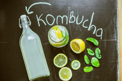 Top view on homemade Kombucha with fruits Stock Image