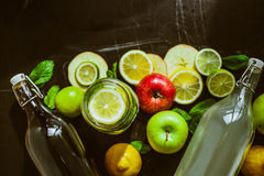 Top view on homemade Kombucha with fruits Stock Images