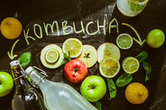 Top view on homemade Kombucha with fruits Stock Photos