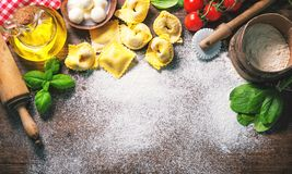 Top view on homemade pasta ravioli on old wooden table Royalty Free Stock Photography