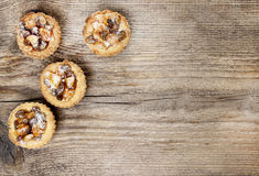 Top view on homemade tarts with dried fruits Stock Photo