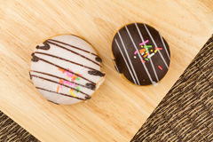 Top view of homemade tasty doughnuts royalty free stock photos