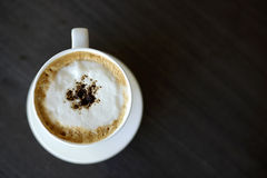 Top view hot cappuccino Royalty Free Stock Photos