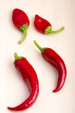 Top view of hot chili peppers Stock Images