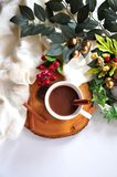 Top view of Hot Chocolate Cup with Christmas Decoration. On white background royalty free stock images
