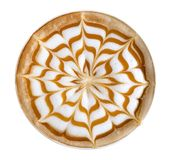 Top view of hot coffee cappuccino latte art isolated on white background, path Royalty Free Stock Images