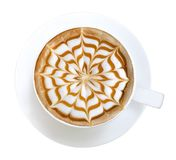 Top view of hot coffee cappuccino latte art isolated on white background, path Royalty Free Stock Photos