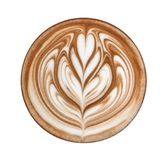 Top view of hot coffee cappuccino latte art isolated on white background, path. Top view of hot coffee cappuccino latte art isolated on white background royalty free stock images