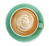 Top view of hot coffee cappuccino latte art spiral foam in jade color cup isolated on white background, path. Top view of hot coffee cappuccino latte art spiral stock images