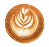 Top view of hot coffee cappuccino latte art on white background, path. Top view of hot coffee cappuccino latte art on white background, clipping path included Royalty Free Stock Images