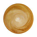 Top view of hot coffee cappucino cup isolated on white backgroun Stock Images
