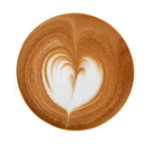 Top view of hot coffee latte art heart shape foam isolated on white background Stock Photos