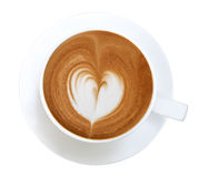 Top view of hot coffee latte art heart shape foam isolated on white background Royalty Free Stock Image