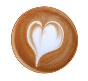 Top view of hot coffee latte art heart shape foam isolated on white background, path Royalty Free Stock Photo