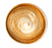 Top view of hot coffee latte cappuccino spiral foam isolated on white background, path. Top view of hot coffee latte cappuccino spiral foam isolated on white royalty free stock images