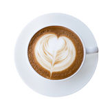 Top view of hot coffee latte cappucino cup with heart shaped foa Stock Photo