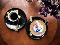 Top view of hot coffee rainbow latte Stock Photography
