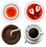Top view of hot and cold drinks Royalty Free Stock Photo