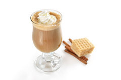 Top view of hot latte in glass Royalty Free Stock Images