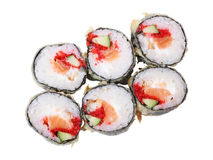 Top view of hot rolls with salmon Royalty Free Stock Photography