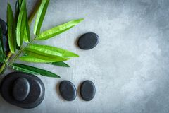 Top View. Hot Stone Thai spa massage treatments aroma relax, copy space. Healthy Concept stock photography