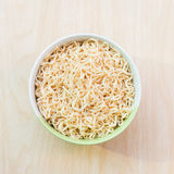 Top view after hot water bowl. Of instant noodles and Spices, vegetables on wooden Stock Photos