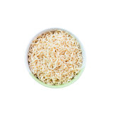 Top view after hot water bowl. Of instant noodles on white background Royalty Free Stock Photography
