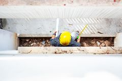 Top view house engineer people working. Top view house engineer people working at construction site in the afternoon royalty free stock image