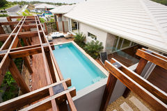 A top view of house waterpool Stock Photography
