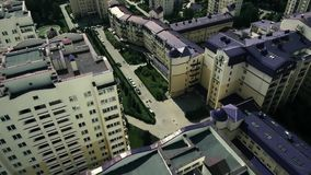Top view of the houses and the street stock footage