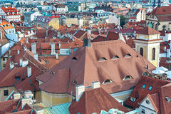 Top view of houses with traditional red roofs in Prague (Czech R Stock Image
