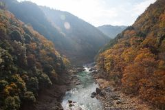 Top view of Hozu-gawa river from Torokko Hodukyo station in Aras. Image of Top view of Hozu-gawa river from Torokko Hodukyo station in Arashiyama ,Kyoto ,Autumn Stock Photography