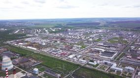 Top view of the huge industrial area. Clip. Industrial zone consisting of a large of industrial shops and warehouses