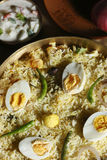 Top view of Hyderabadi egg biryani Royalty Free Stock Photography