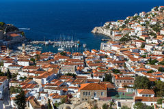 Top view of Hydra island, Greece. Travel. Royalty Free Stock Image