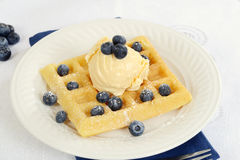 Ice cream blueberry waffle Royalty Free Stock Image