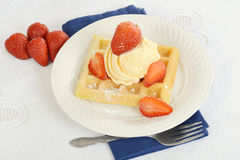 Top view ice cream strawberry waffle Stock Photos