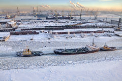 Top view of icebound sea channel, commercial port Saint-Petersburg, Russia. stock photo