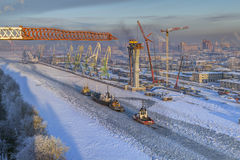 Top view of icebound sea channel, commercial port Saint-Petersbu Stock Image