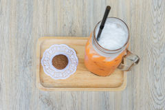 Top view of Iced milk Tea Royalty Free Stock Photography
