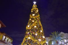 Top view of illuminated and decorated Christmas Tree at night on open mall background in Lake Buena Vista area. Orlando, Florida. November 17 , 2018 Top view of royalty free stock photography