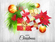 Top view illustration of christmas elements on white wooden text. Ure background for Merry Christmas celebration royalty free illustration