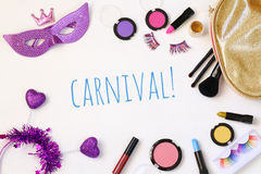 Top view image of carnival makeup Royalty Free Stock Photo