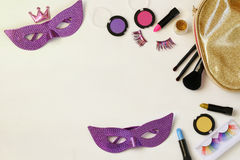 Top view image of carnival makeup Stock Photos