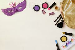 Top view image of carnival makeup Stock Image