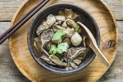 Top view image of Chinese noodle soup , Beef Noodle Soup Royalty Free Stock Photo